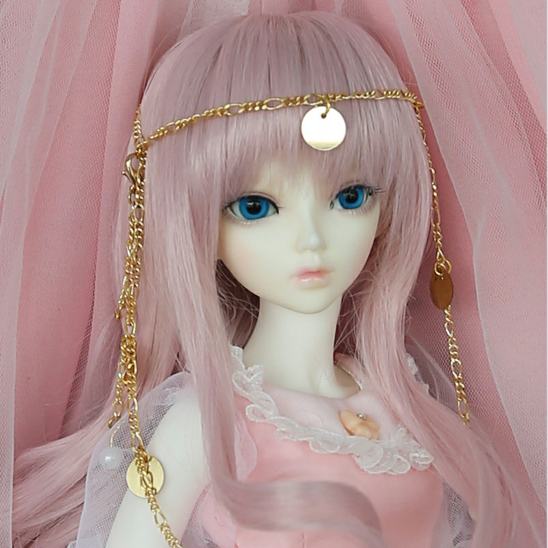 Free Shipping BJD Wig 1/4 Long Curly Bang High Temperature Hair Pink Fairies For Minifee Luts Iplehouse Girl Doll Accessories fashion side bang long slightly curly cosplay wig for women