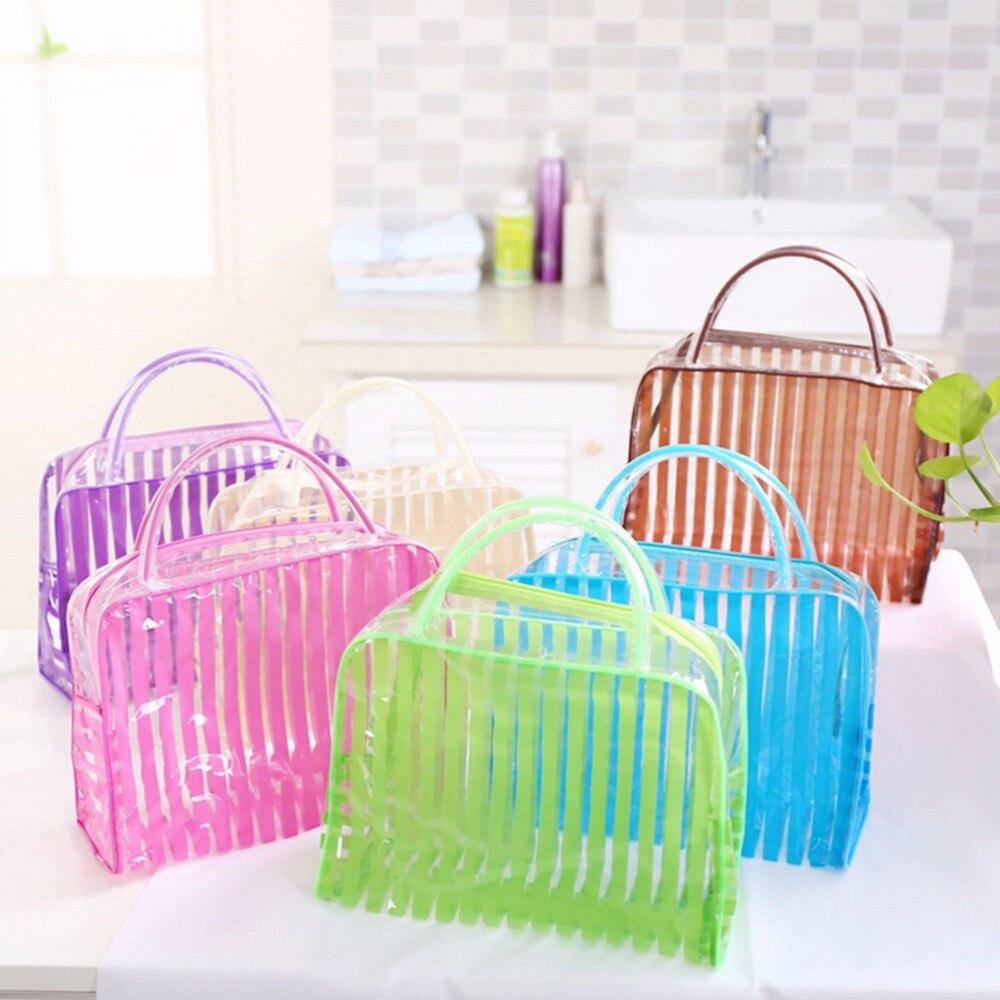 ZTBBAO Fashion Transparent PVC Zipper Cosmetic Bag Stripe Portable Waterproof Makeup Tool Storage Ladies Bag Makeup Organizer цена 2017