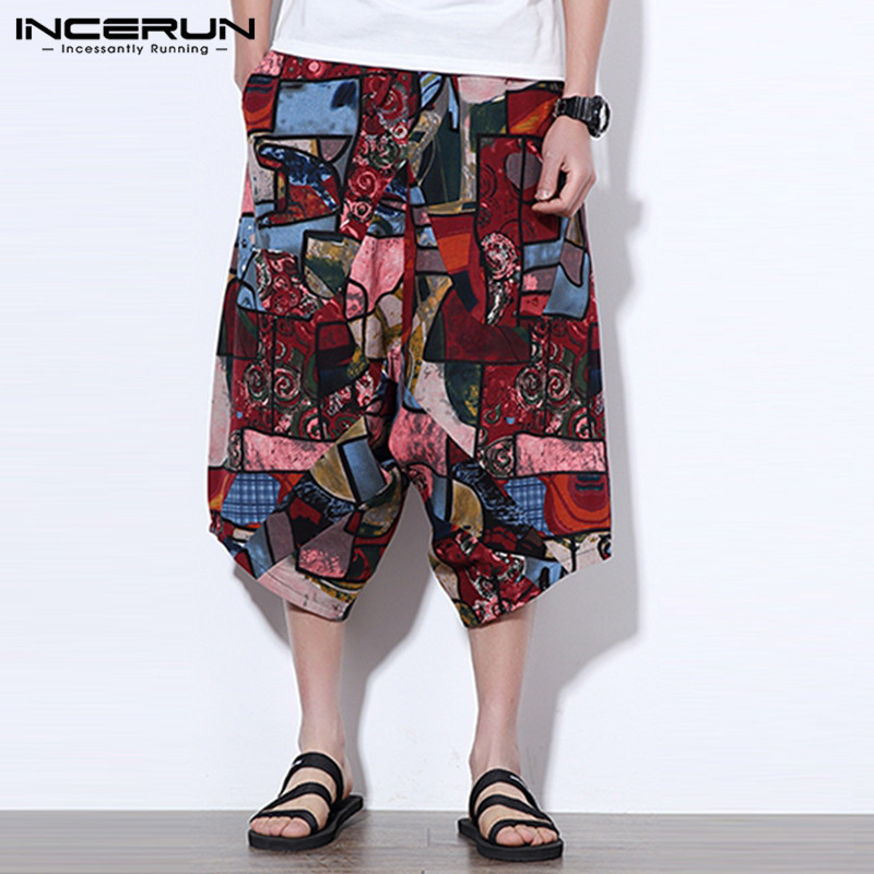 Big Size 5XL Hawaiian Men Pants Boho Cotton Summer Cross-pants Harem Pants Crotch Drop Wide Pantalon Baggy Loose Trousers