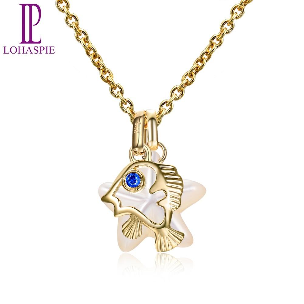 LP perle bijoux océan fête solide 9 k or jaune pendentif naturel saphir nacre poisson étoile Fine bijoux pour cadeau