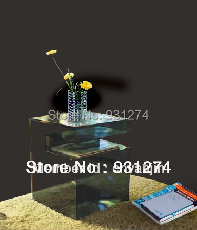 New design black acrylic office desks with magazine racks Lucite coffee table for leisure garden sets