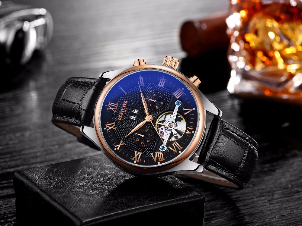 Men Automatic Mechanical Watches Rose Gold Wristwatch Man Waterproof Leather Strap Wrist atch Relogio Masculino