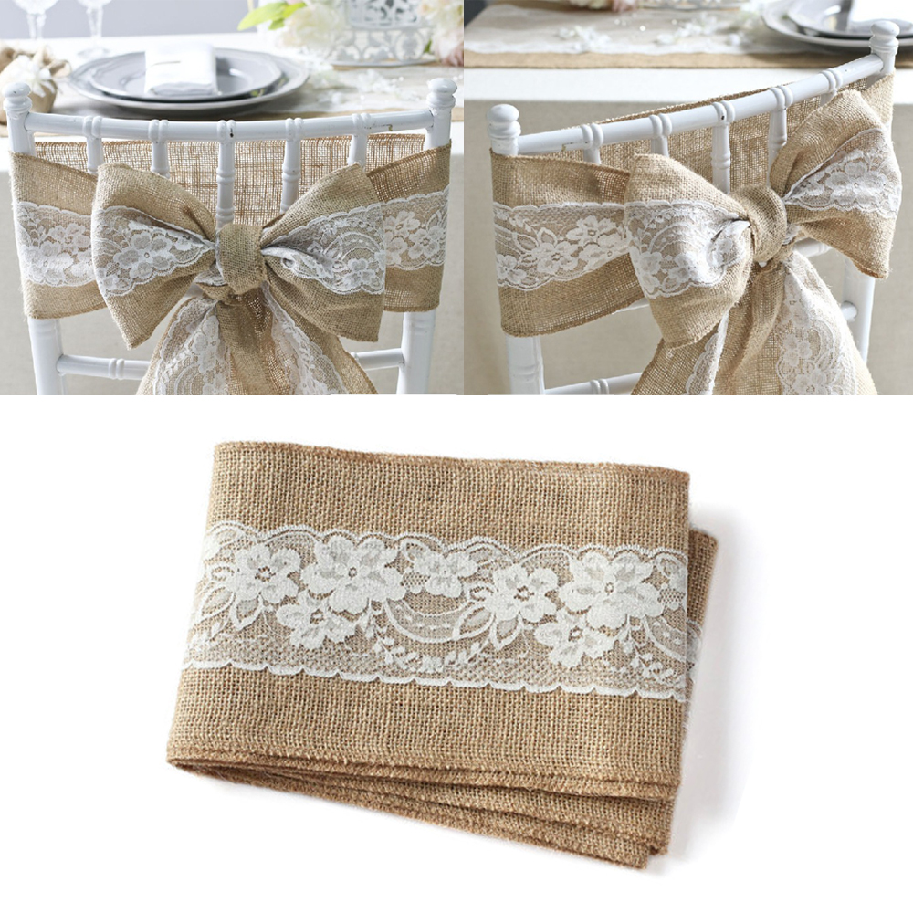 Chair sashes styles - 100pcs Pack Burlap Chair Sash With Lace 6 X94 Stitched Edge Shabby Chic