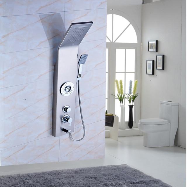 Neue Ankunft Badezimmer Dusche Panel Gebürstetem Nickel Wand Mit Wasserfall  Regendusche Kopf Dusche Wasserhahn