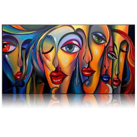 Big Eyes Girls Canvas Art Handmade Picasso Style Oil Painting Modern Abstract Woman Figures Wall Pictures for Living Room Decor
