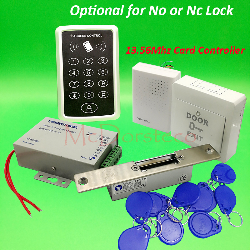DIY 13.56mhz IC M1 Card Door Access Control kit Full Door Access Kit Yli YS13q Narrow No Nc electric strike lock +Power Supply бесплатная доставка diy kit электронные производство lm2902nsr ic операционные усилители gp 1 2 мгц quad 14sop 2902 lm2902 20 шт