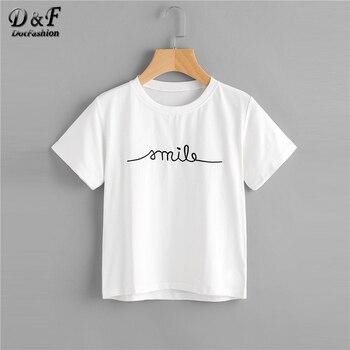 Dotfashion 手紙刺繍 Tシャツ半袖レギュラーフィットの Tシャツ 2019 夏新白ラウンドネックカジュアルな女性トップ
