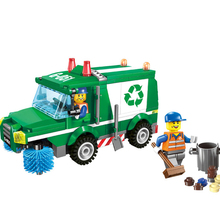 198pcs 2019 New Educational Building Block BricksToys Compatible Legoing City Engineer Series Green Cleaning Car Boys Gifts