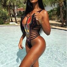 Бразильский сексуальный купальник-монокини с высоким вырезом, женский купальник, Цельный купальник, одежда для купания в африканском стиле, Женский бандажный купальник, бикини