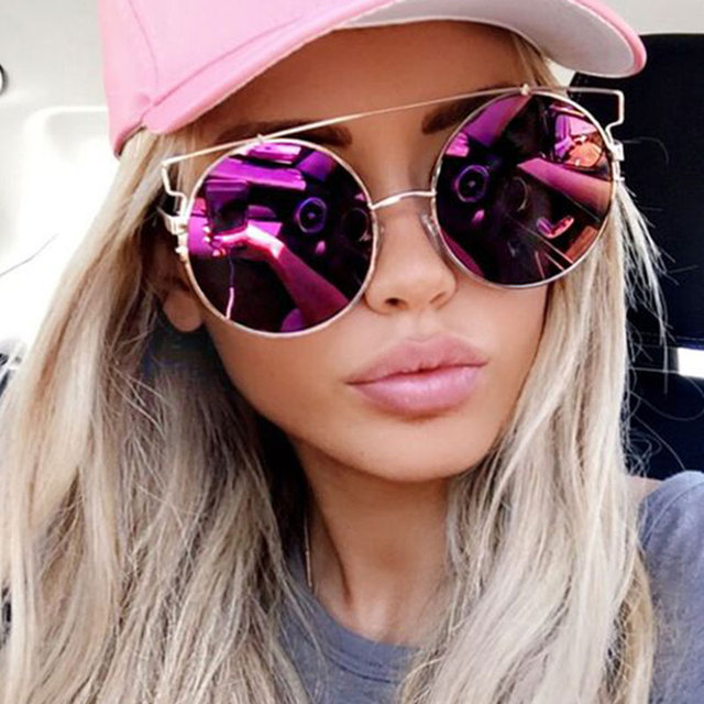 cf6a38e61b Cat Eye Sunglasses Women Flat Top Oversize Rose Gold popular Mirror Brand  Designer 2017 Metal Frame Sun Glasses Lady Big Size