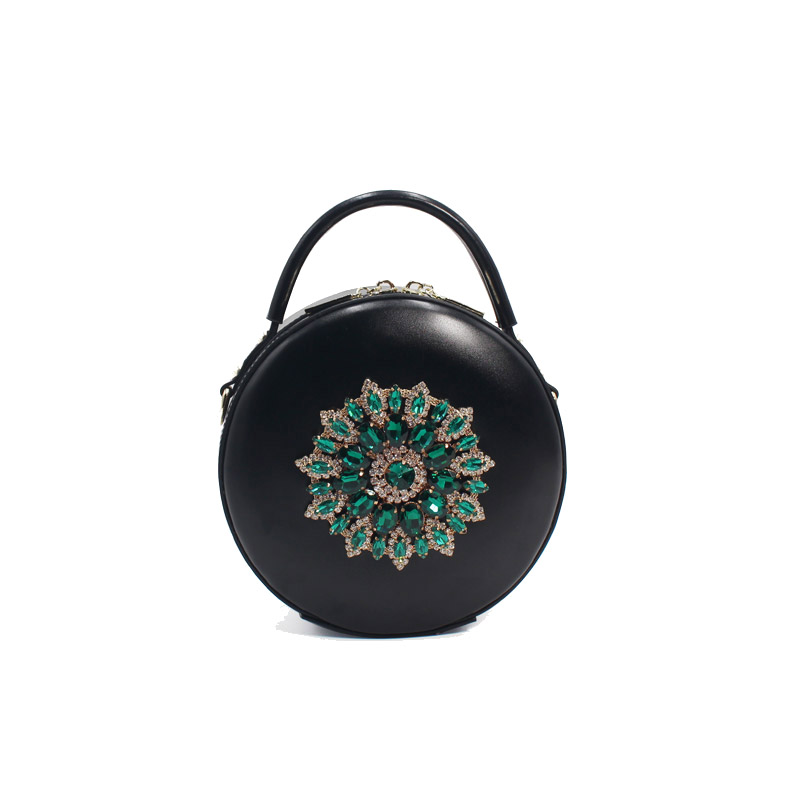 Lady Handbags Women Messenger Black Bags Genuine Leather Circular Cowhide Ladies Mini Luxurious Diamonds New Year Party Bag wyatt r complete ielts bands 4 5 workbook with answers cd