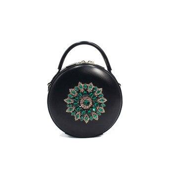 Lady Handbags Women Messenger Black Bags Genuine Leather Circular Cowhide Ladies Mini Luxurious Diamonds New Year Party Bag
