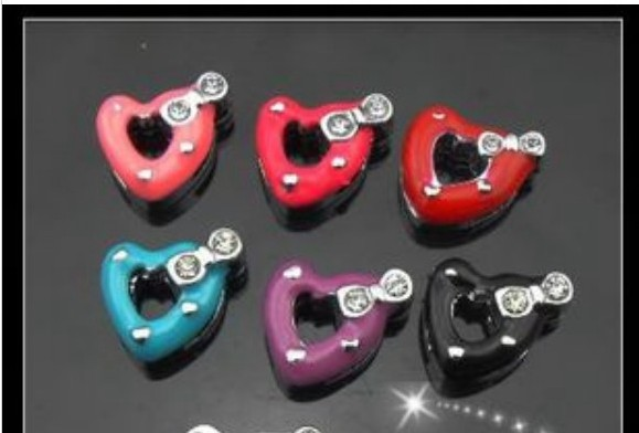 10pcs-50pcs-100pcs 8mm Mixed Color Heart With Bow Slide Charms Can Through 8mm Belt Pet Dog Cat Collar Bracelet Band DIY Charms
