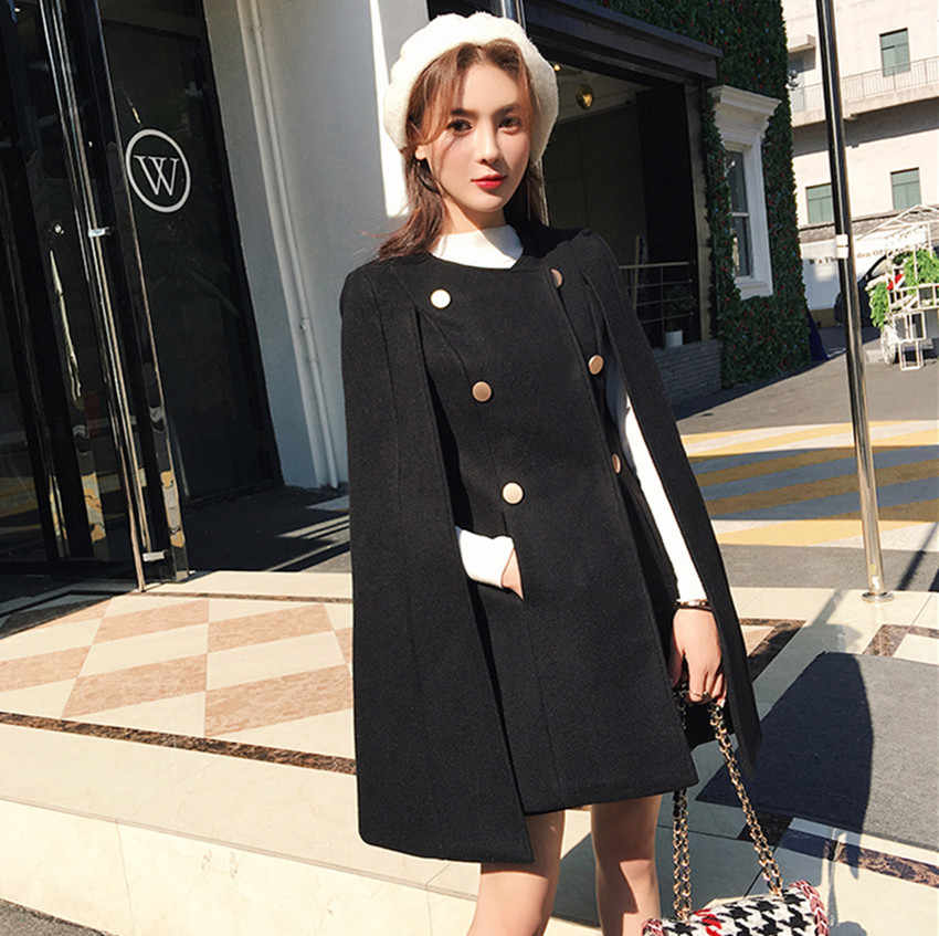 HAMALIEL осень-зима шерстяное двубортный плащ верхняя одежда 2018 взлетно-посадочной полосы Для женщин твид с рукавами «летучая мышь» пончо накидка теплая шерсть пальто