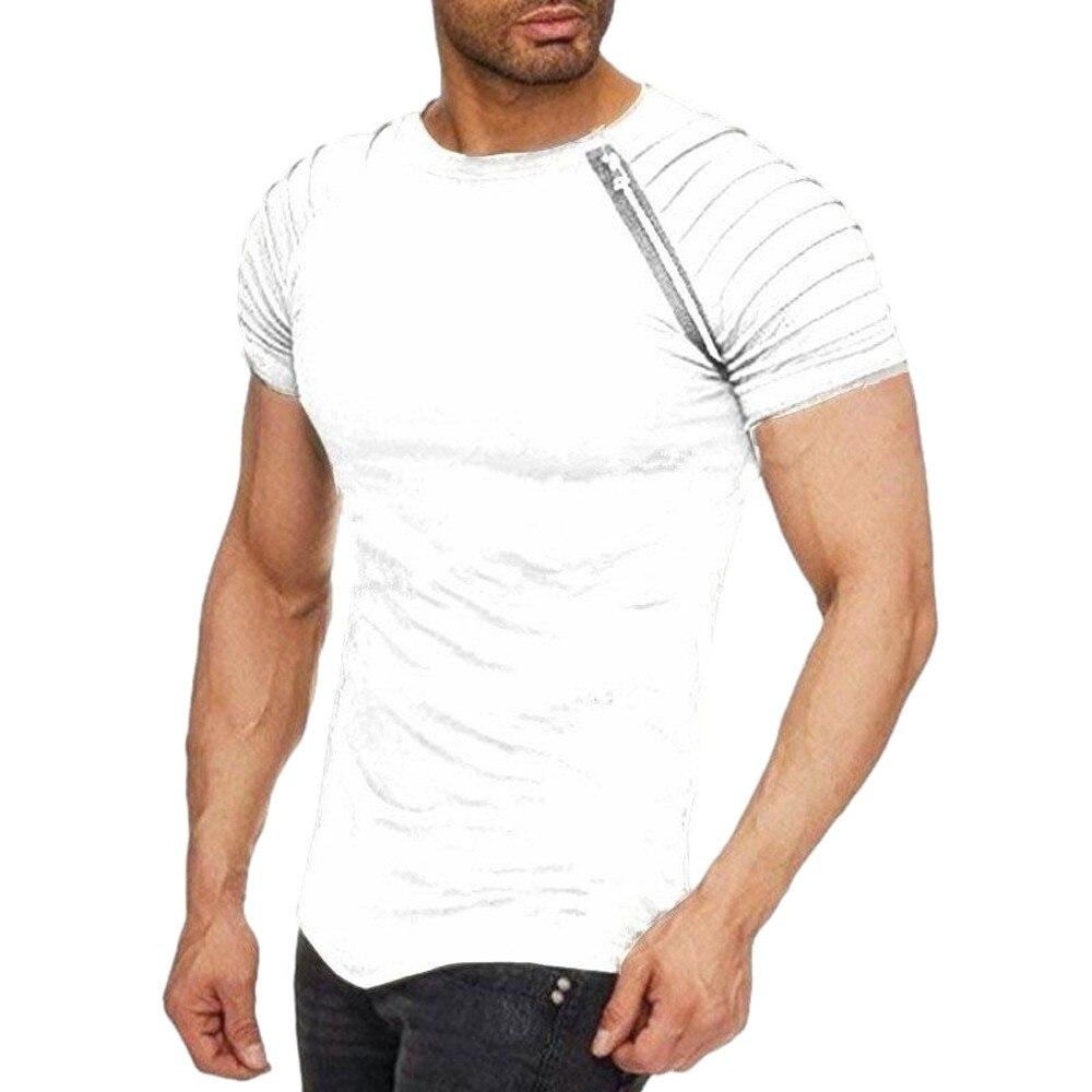 2018 New Men's harajuku Casual Tops Summer Short-Sleeve T-Shirt  Folded Round Collar Zipper men clothing Plus size