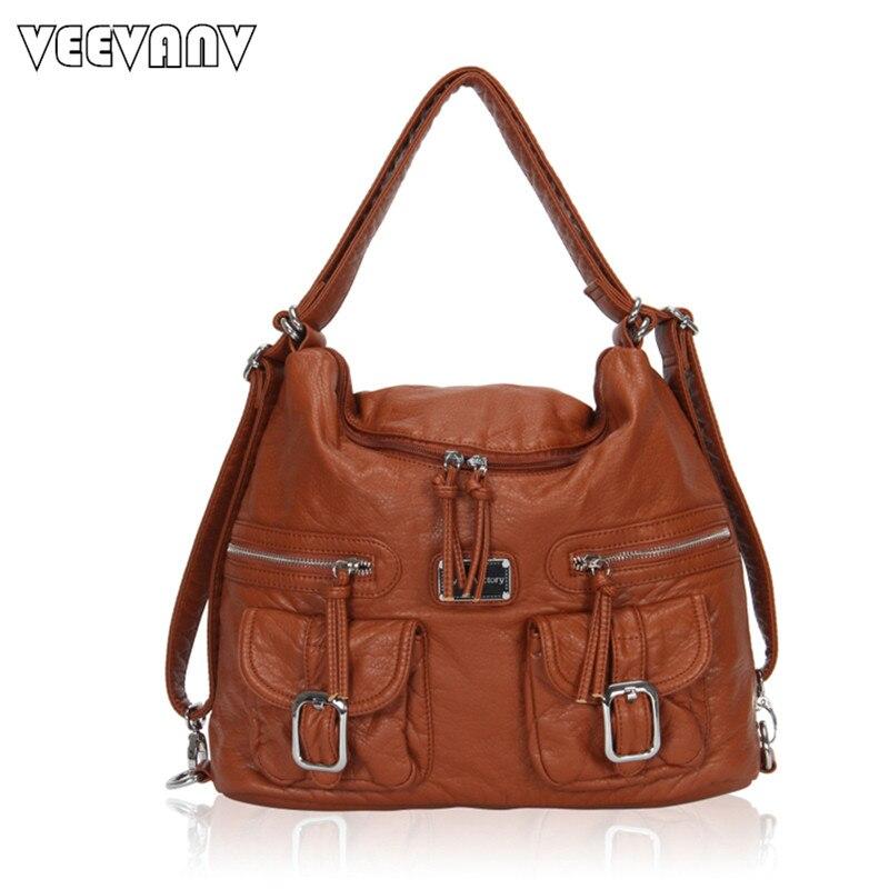 2017 VEEVANV New Designer Brown Leather Handbags For Women Shoulder Handbags Str