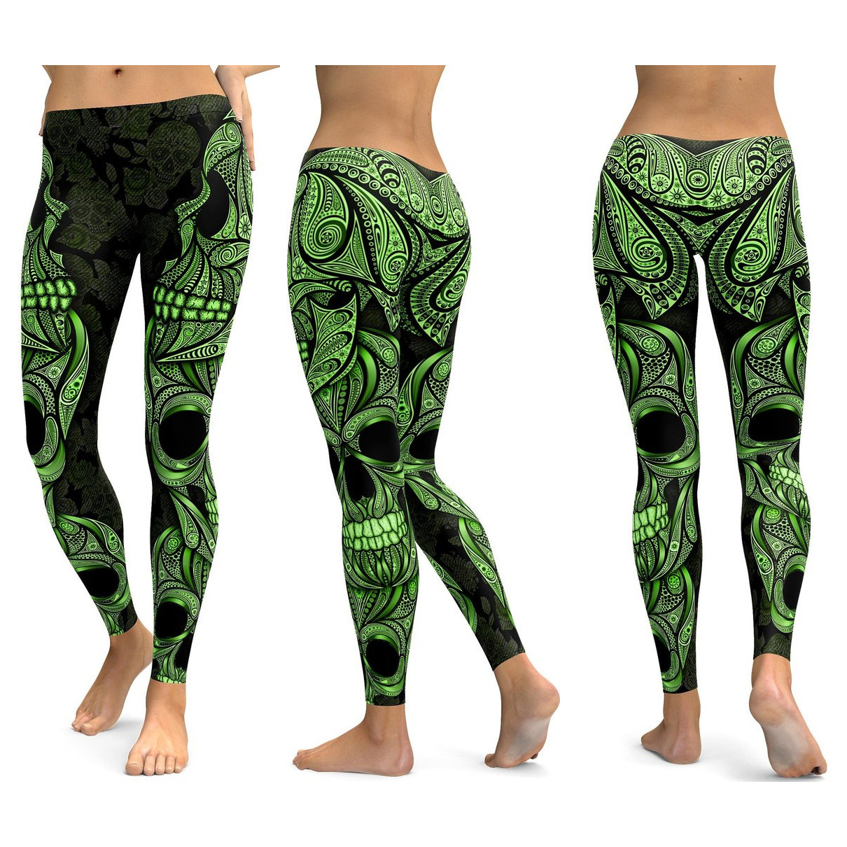 Skull Leggings Yoga Pants Women Sports Pants Fitness Running Sexy Push Up Gym Wear Elastic Slim Workout Leggings 35