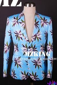 Плюс размер мужской блейзер лузер Черный Синий Цветы костюм костюмы GD мужчины тонкий ночной клуб мужчины певица костюм формальное платье - Цвет: Синий