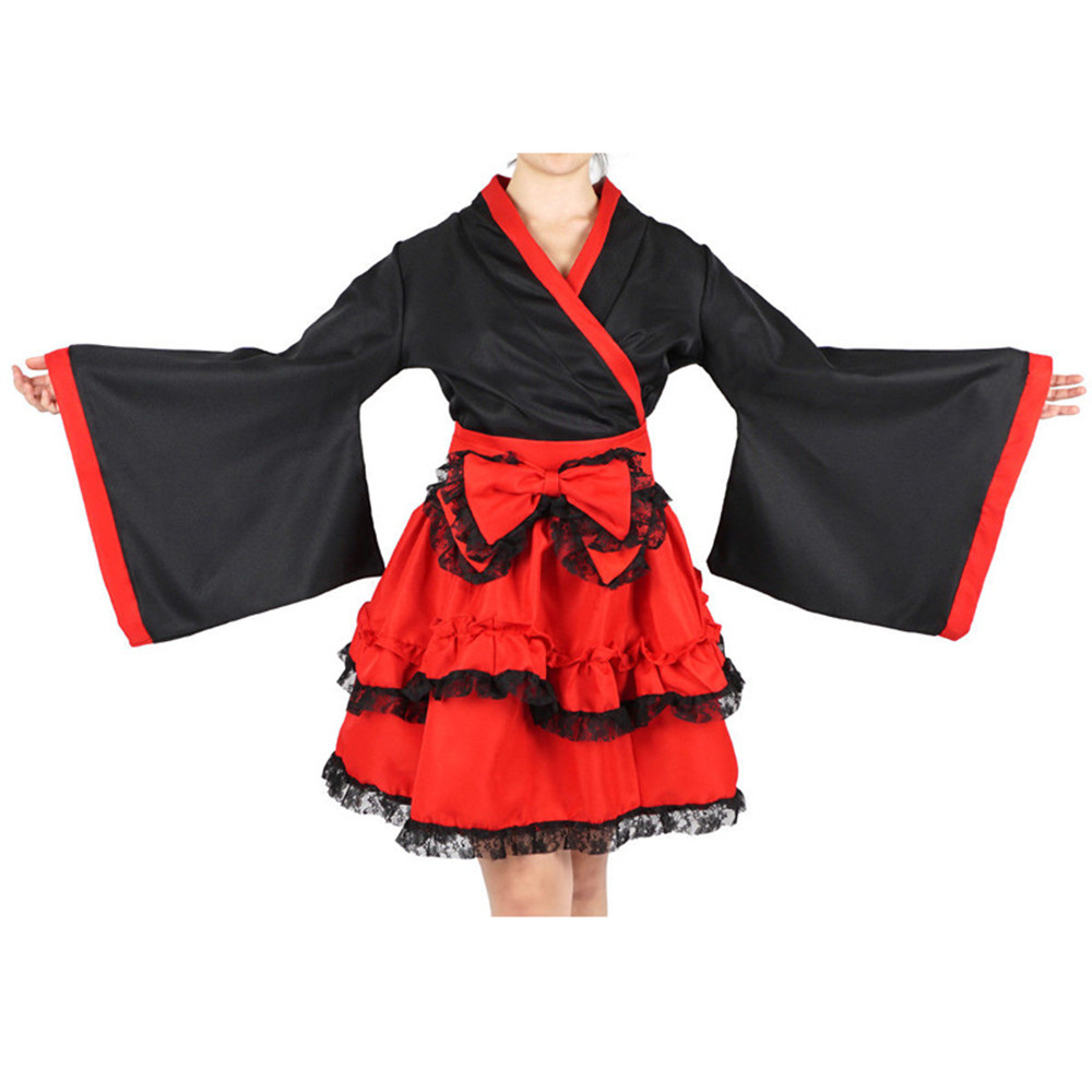 Cosplay Japanese kimono bow maid outfit lolita dress princess dress Halloween carnival party dress women costumes