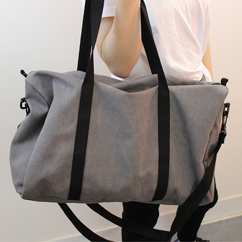 Large-capacity Solid Color Canvas Women Short-distance Travel Bag Sleek Minimalist Fabric Men Hand Luggage Bag