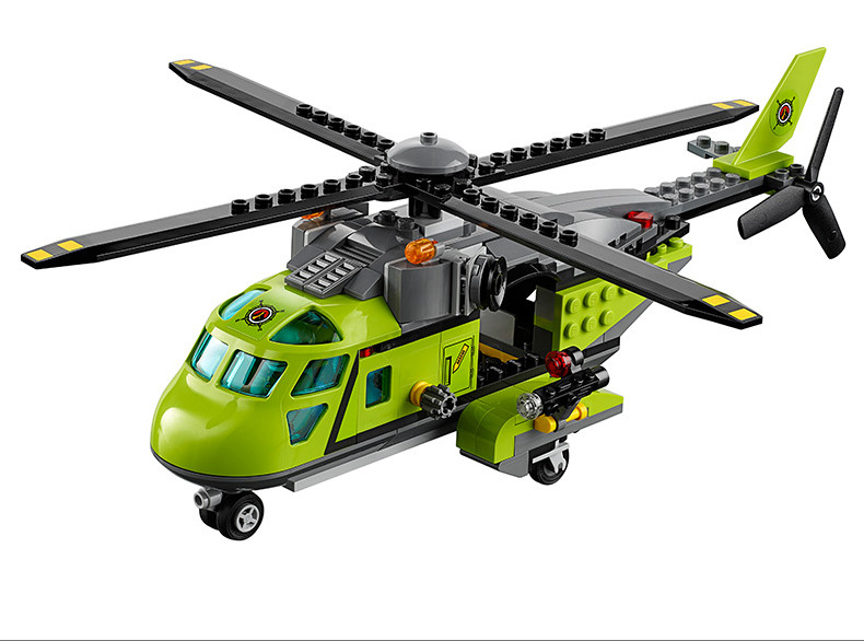 Model building blocks kits compatible with lego city 60123 LP 02004 Helicopter Volcanic Expedition brick model building toys