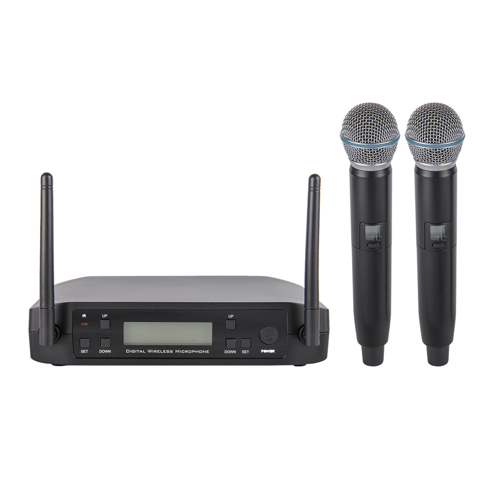 WM220 UHF Long Range Dual Channel 2 Handheld Mic Transmitter Professional Karaoke UHF Wireless Microphone System Family Karaoke leory uhf wireless microphone system 4 channel uhf receiver karaoke microphone system with four mic for diy family ktv singing