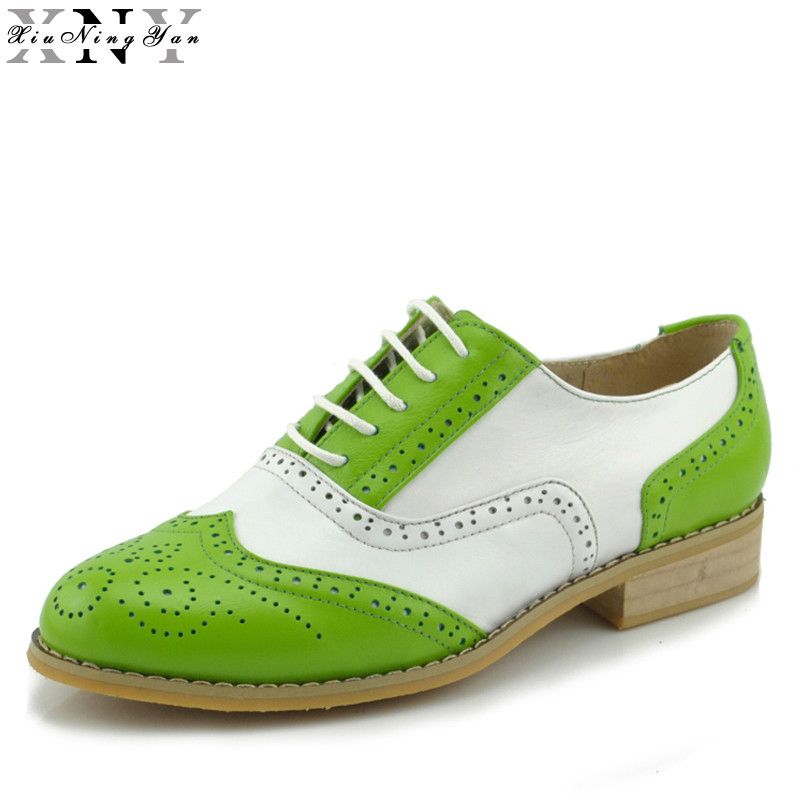 XiuNingYan 2019 Genuine Leather Shoes Women Brogues Oxfords Flat Heels Round Toe Handmade Women Oxford Casual