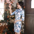 New Autumn Chinese Traditional Dress Blue and white Silk Satin Half Sleeve Vintage Cheongsam Stand Neck Qipao Chinese Dresses