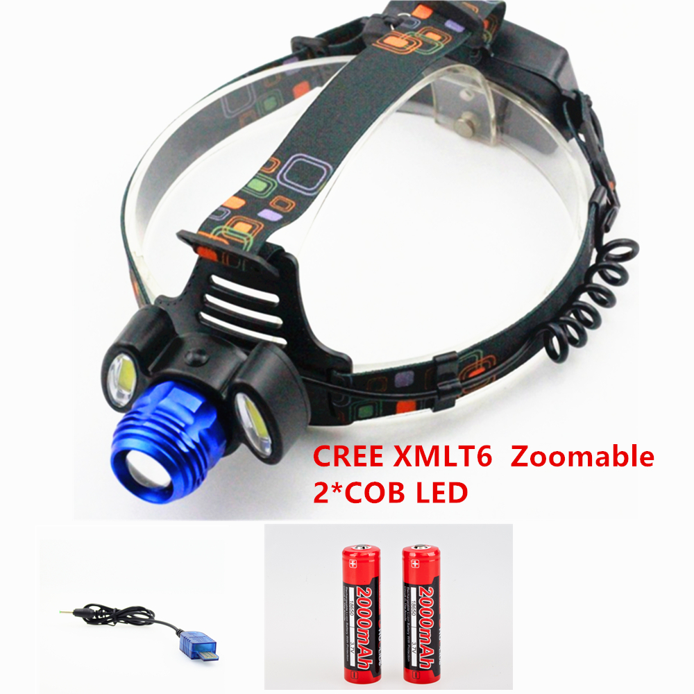 Shuo Li De 1300 lumens USB Rechargeable Led lighting Headlamp CREE XMLT6+2COB Head Lamp Headlight