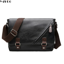 Y.ZHUO new 2017 fashion leather mans bag vintage zipper men messenger bags casual shoulder crossbody bag for male free shipping(China (Mainland))