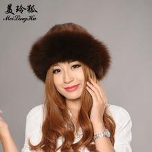Meilinghu mujeres invierno Mink Pieles de animales sombrero Rex Pieles de  animales sombreros con Fox Pieles 9499f849011