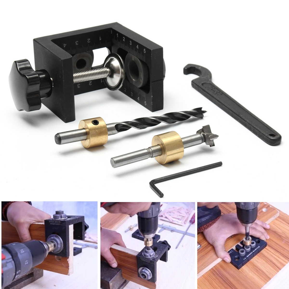 цена на Woodworking Drill Guide Set Locator Woodworking Pocket Hole Locate Punch Jig Kit + Step Drilling Bit Wood Tools Set