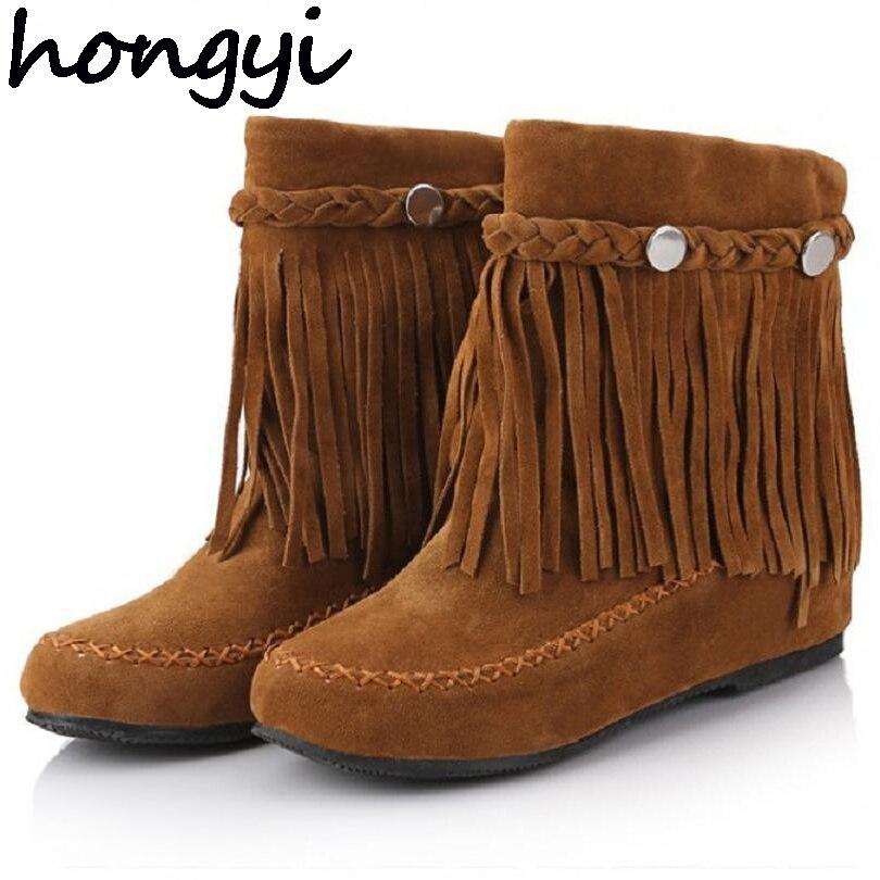 hongyi 35 43 bohemian gypsy boho ethnic national women tassel fringe suede leather ankle boots woman