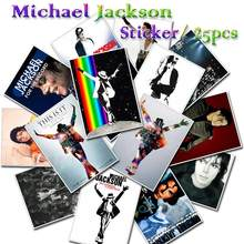 25 Pcs/Lot Michael Jackson Bedroom Vinyl Waterproof Sticker Decals for Skateboard Refrigerator Laptop Guitar & Bass Accessories(China)