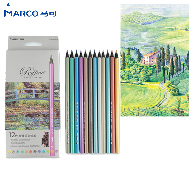 Metallic color pencil set Marco raffine fine art Black wood pencil metal Crayon painting drawing Stationery School supplies cute lovely color pencil drawing tutorial art book