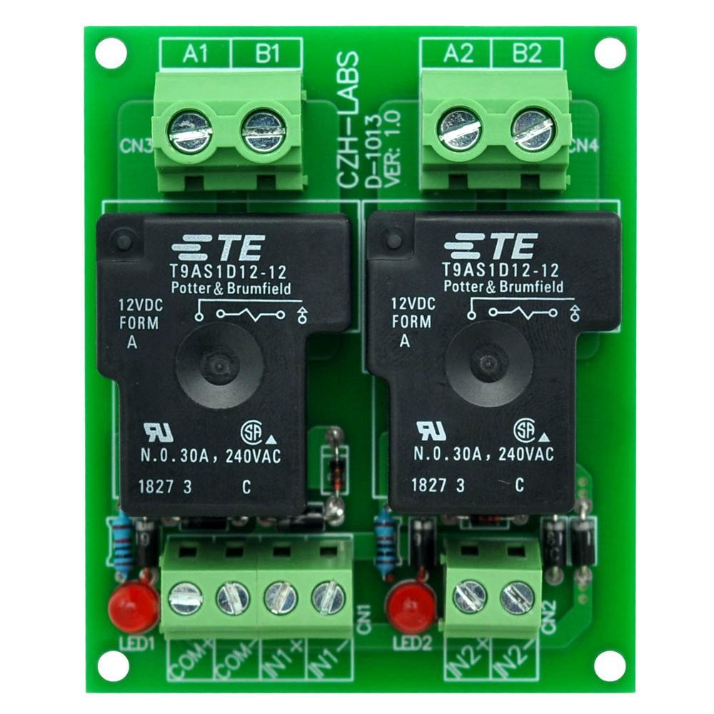 CZH-Labs 12V Passive 2 SPST-NO 30Amp Power Relay Module Board.