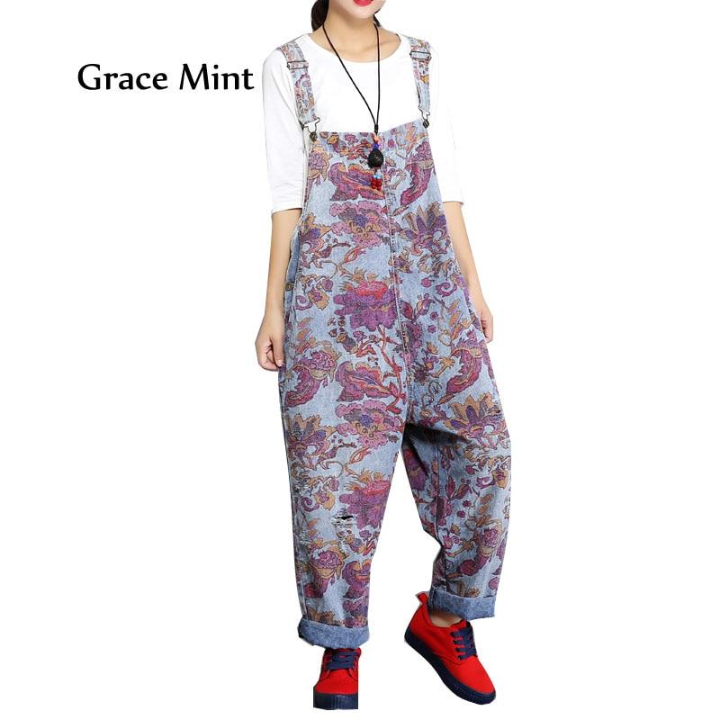 Pants Women Overalls Jumpsuits Women Summer Autumn Loose Vintage Print Ripped Hole Denim Jumpsuits