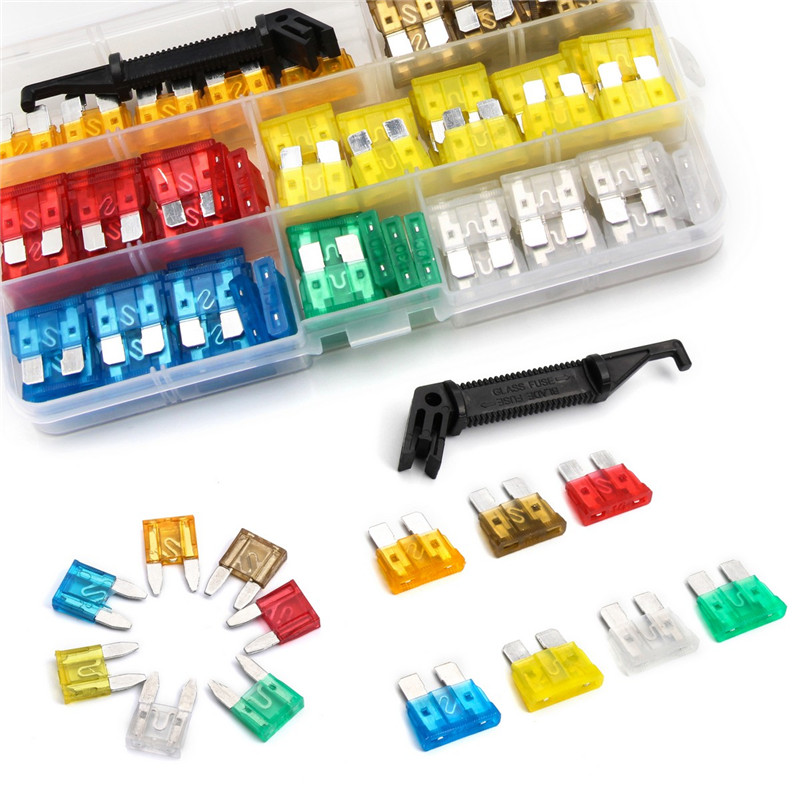 5A/7.5A/10A/15A/ 20A/25A/30A Medium/Small Size Low Profile Fuse Blade Type Auto Car Fuses Mixed 242pcs Kit with Black Fuse Key
