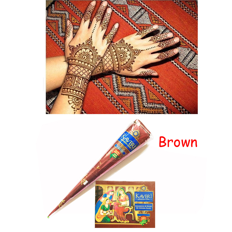 Brown natural herbal henna cones tube natural indian for Temporary tattoo kit online