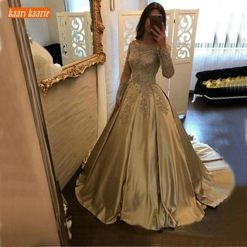 Luxury Gold Satin Evening Dresses Long Sleeves 2020 Lace Appliques Gowns Customized Ball Gown Women Party Formal Dress