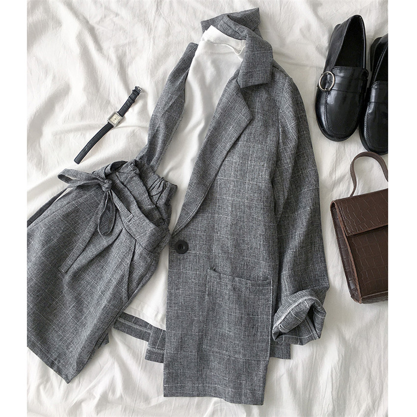 New Summer Two Piece Big Size Women Plaid Blazer + Shorts Formal Suits Loose Lady Midi Long Blazers Thin Sun Protection Coat 818