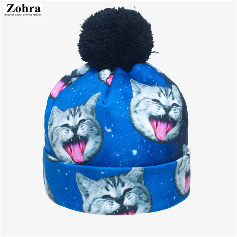 New 2017 Lady Skullies Beanies 3D Print Polyester Hat Woman Casual Autumn Winter Fashion Brand Cap skullies