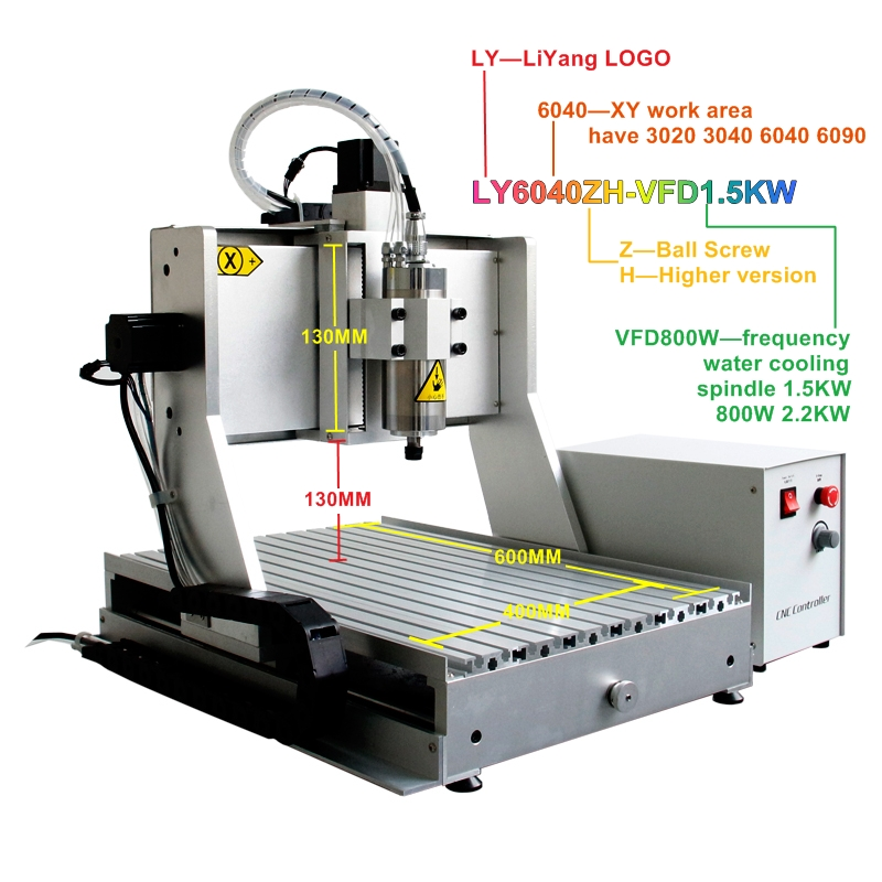 3axis metal engraving machine 6040ZH cnc wood router with 1500W spindle 130mm Acceptable material thickness diy engraving machine 2520 3 axis cnc router metal carving machine for woodworking