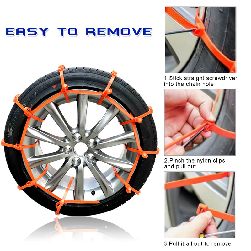 Anti-skid Tire Chains Car Emergency Chains Powertiger Anti Slip Tire Snow Chain for Car and SUV Set of 6 Snow Chains