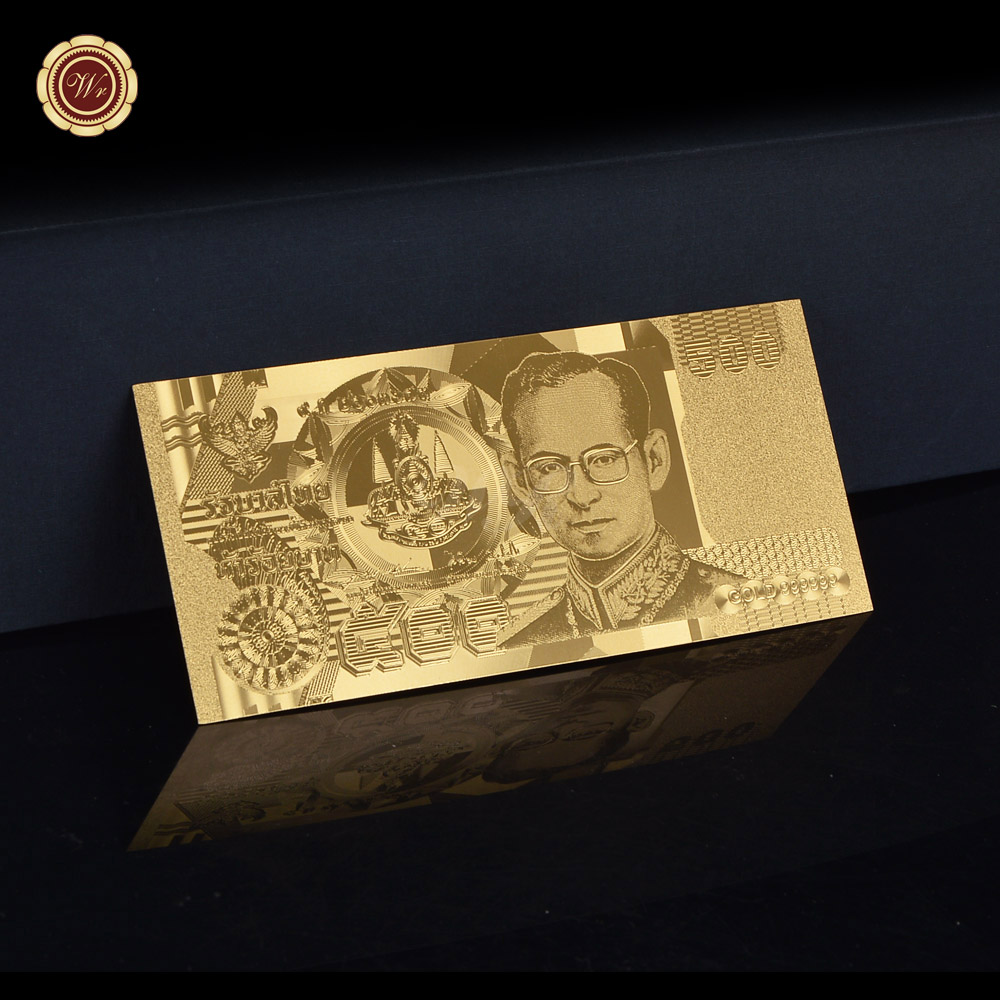 WR Gold Banknote Thailand 500 Banknote Fake Money for Collection Decoration Souvenir GiftsWR Gold Banknote Thailand 500 Banknote Fake Money for Collection Decoration Souvenir Gifts