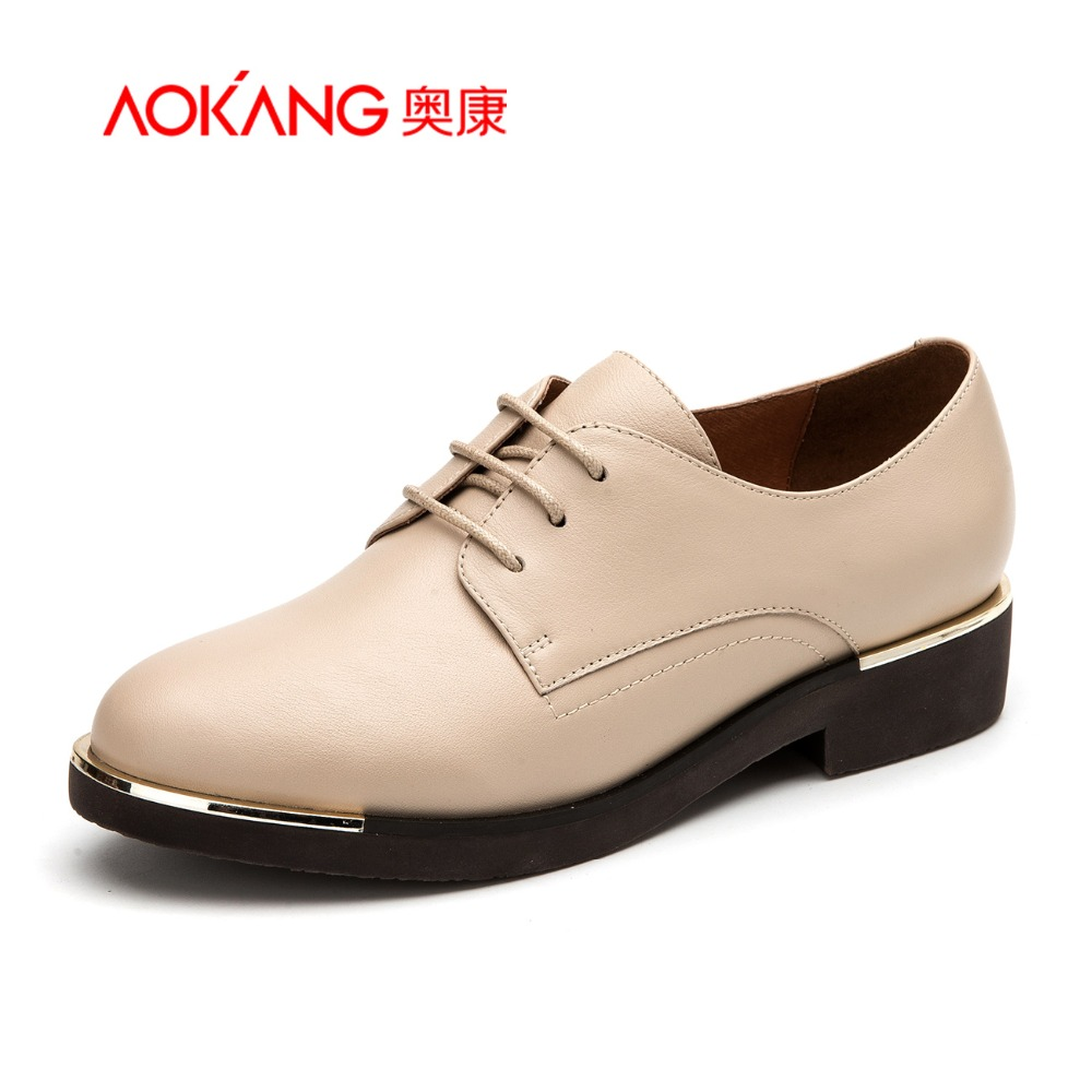 Aokang 2017 New Arrival  Women British Style Shoes Genuine Leather Platform Low heel Pumps Comfortable and Casual aokang 2017 new arrival women flat genuine leather shoes red pink white women shoes breathable and soft free shipping