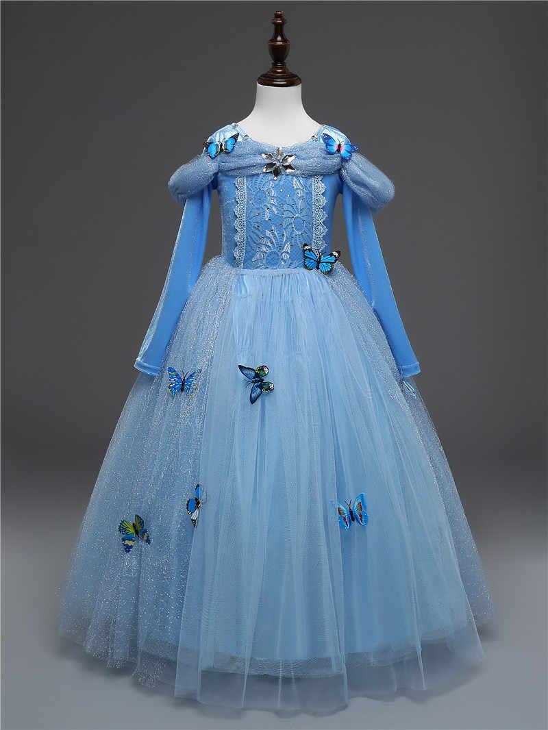 Vestido de manga larga con estampado de mariposa ropa para niños invierno otoño ropa tutú Cenicienta niña vestidos princesa Cosplay disfraz 10 T
