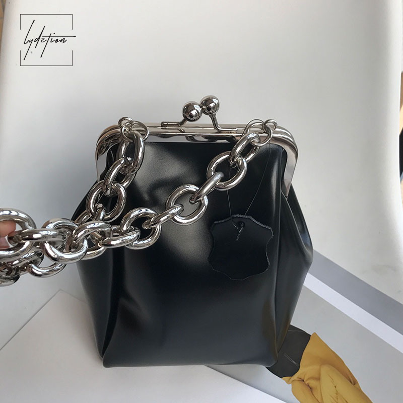 Lydztion Fashion Black Luxury Flap Bag Chain Evening Totes 2018 Hot Designer Handbag Kiss Lock Bag Genuine Leather Soft Clutches kiss lock chains evening bag