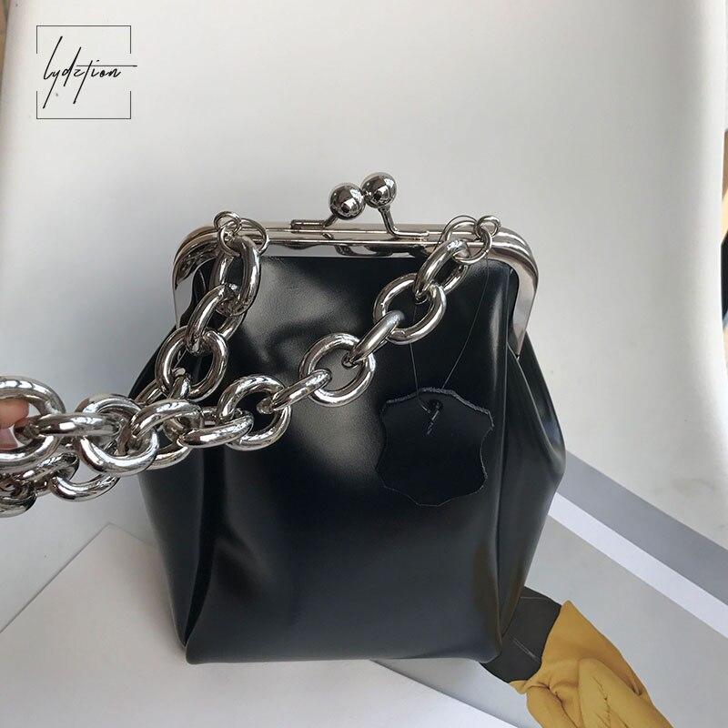 Lydztion Mode Noir De Luxe Rabat Sac Chaîne de Soirée Totes 2018 Hot Designer Sac À Main Baiser Serrure Sac Véritable Cuir Souple Embrayages