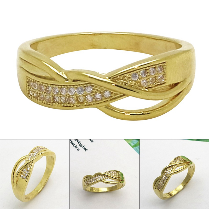 New Creativity Ribbon Engagement Ring Gold Color Cubic Zirconia Wedding Rings For Women Jewelry Gift